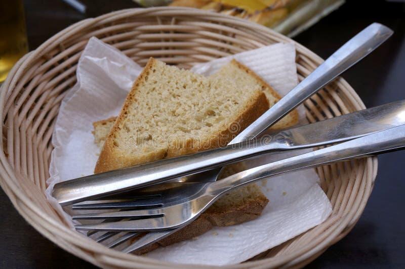 Ткань столового прибора корзины хлеба стоковые фото