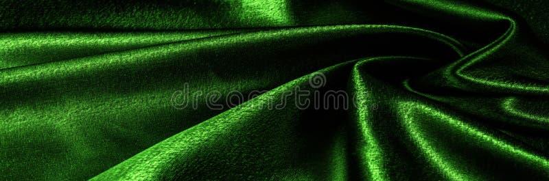 ткань текстуры silk зеленое металлическое волокно металлический блеск Th стоковое фото