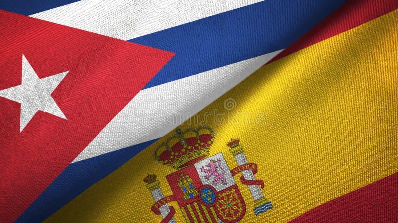 Ткань ткани флагов Кубы и Испании 2, текстура ткани иллюстрация вектора