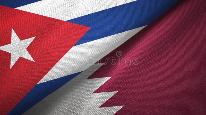 Ткань ткани флагов Кубы и Катара 2, текстура ткани иллюстрация вектора