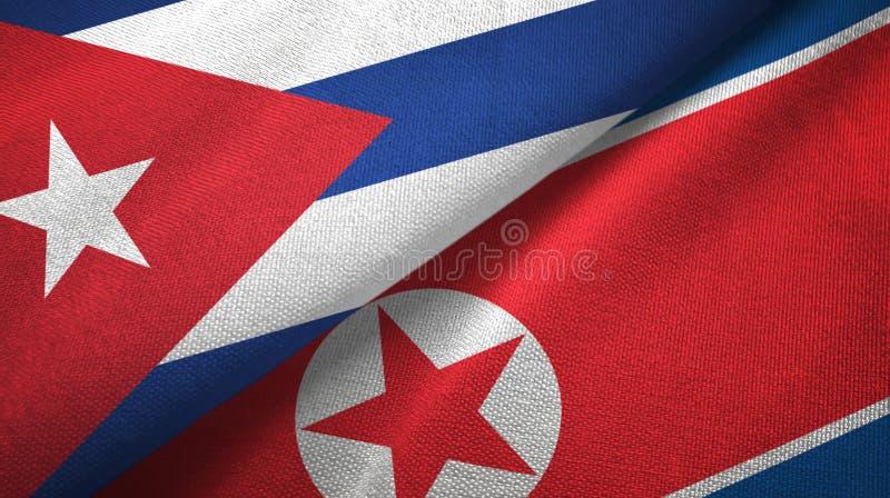 Ткань ткани флагов Кубы и Корейской Северной Кореи 2, текстура ткани бесплатная иллюстрация