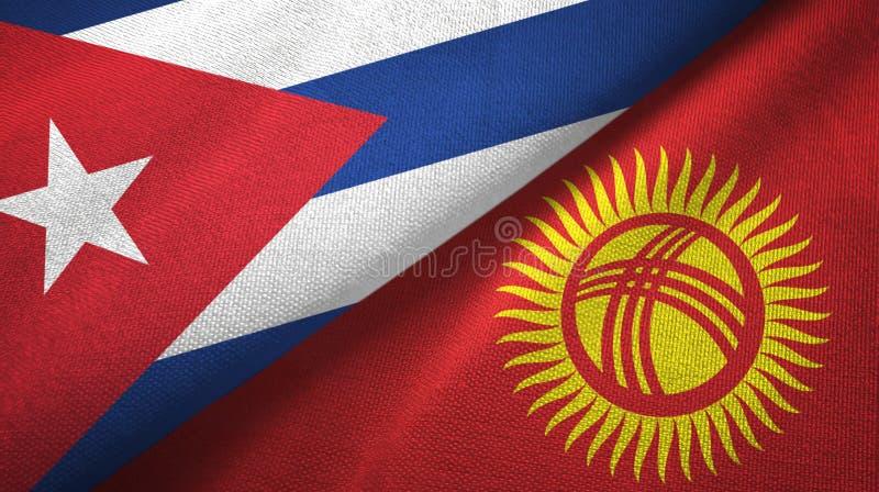 Ткань ткани флагов Кубы и Кыргызстана 2, текстура ткани иллюстрация вектора