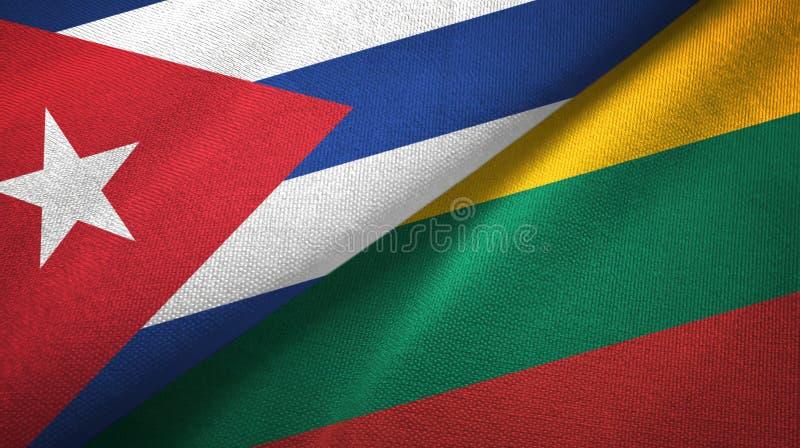 Ткань ткани флагов Кубы и Литвы 2, текстура ткани иллюстрация вектора