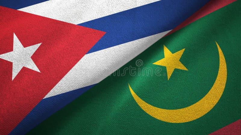 Ткань ткани флагов Кубы и Мавритании 2, текстура ткани иллюстрация вектора