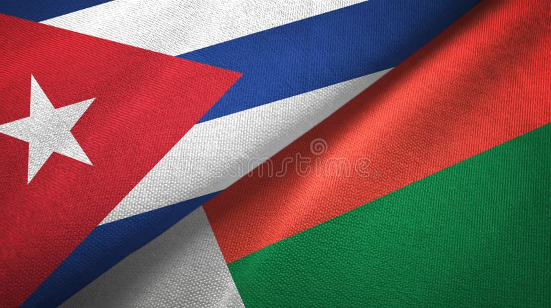 Ткань ткани флагов Кубы и Мадагаскара 2, текстура ткани иллюстрация штока