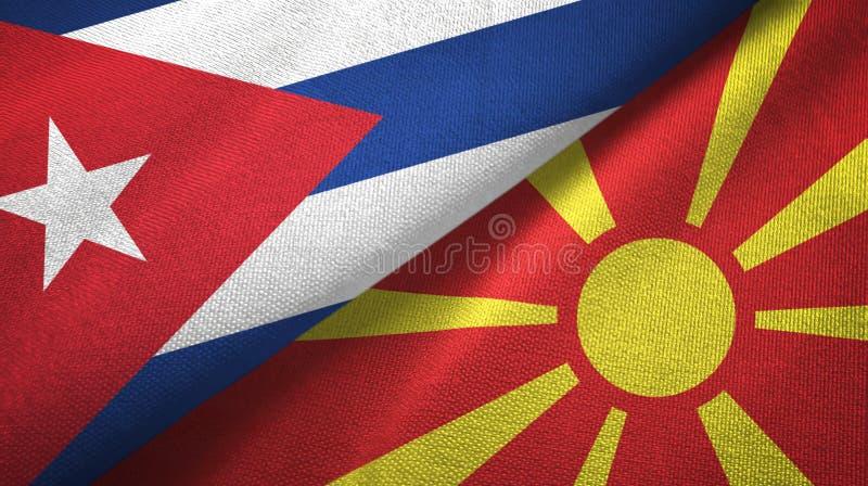 Ткань ткани флагов Кубы и Македонии 2, текстура ткани иллюстрация вектора