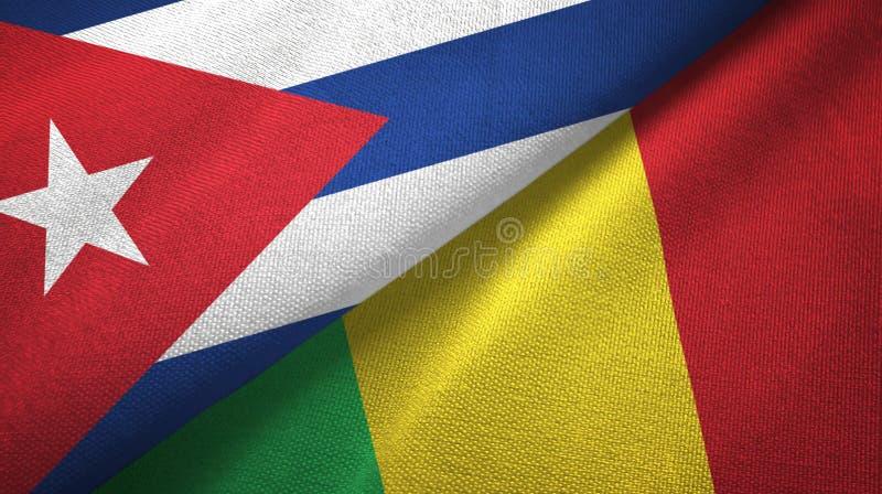 Ткань ткани флагов Кубы и Мали 2, текстура ткани бесплатная иллюстрация