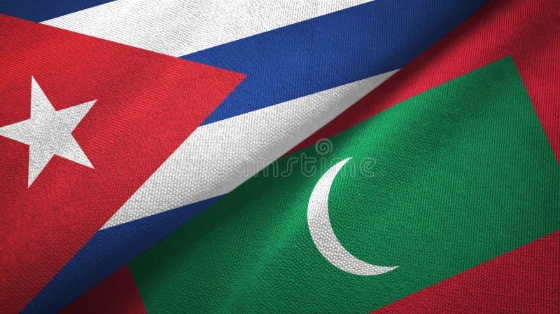 Ткань ткани флагов Кубы и Мальдивов 2, текстура ткани иллюстрация вектора