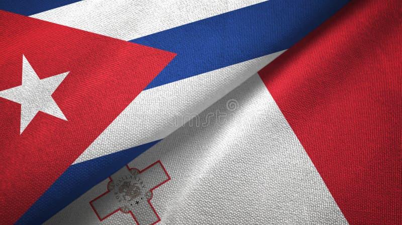 Ткань ткани флагов Кубы и Мальты 2, текстура ткани иллюстрация вектора