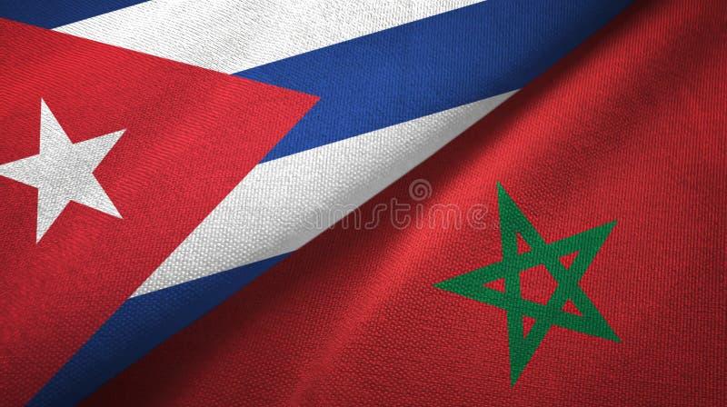 Ткань ткани флагов Кубы и Марокко 2, текстура ткани иллюстрация вектора