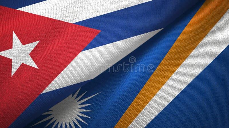 Ткань ткани флагов Кубы и Маршалловых Островов 2, текстура ткани иллюстрация штока