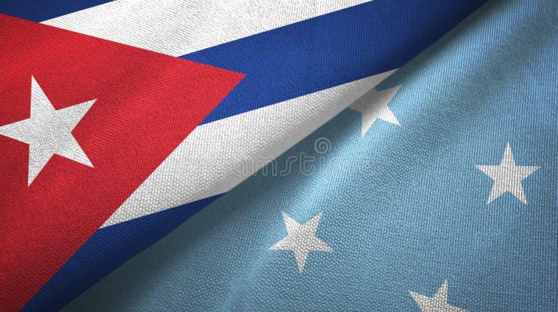 Ткань ткани флагов Кубы и Микронезия 2, текстура ткани иллюстрация вектора