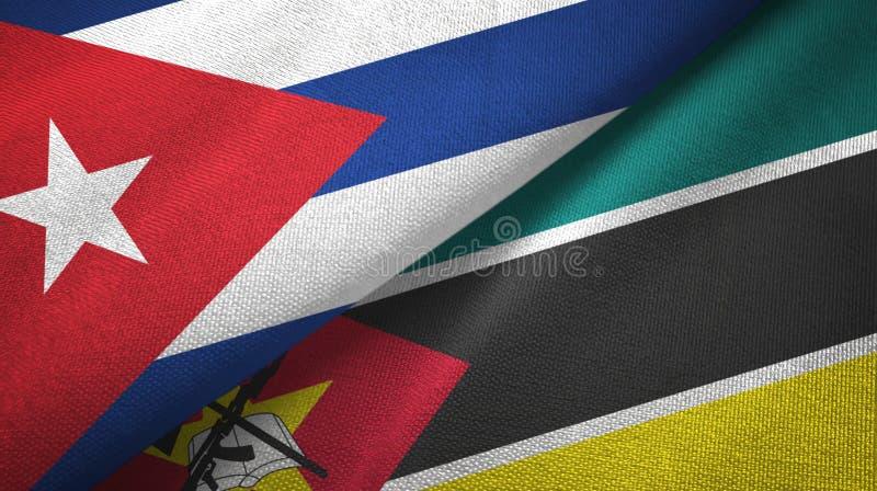 Ткань ткани флагов Кубы и Мозамбика 2, текстура ткани иллюстрация штока