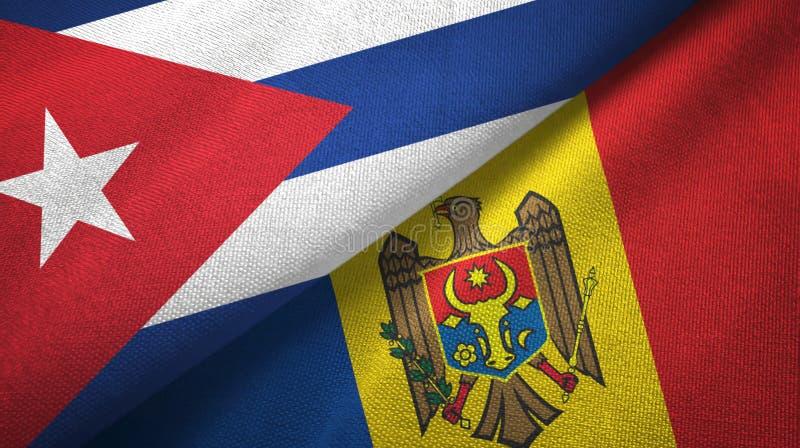Ткань ткани флагов Кубы и Молдавии 2, текстура ткани иллюстрация штока