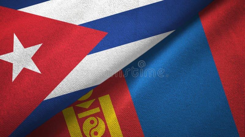Ткань ткани флагов Кубы и Монголии 2, текстура ткани иллюстрация вектора