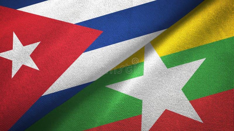 Ткань ткани флагов Кубы и Мьянмы 2, текстура ткани бесплатная иллюстрация