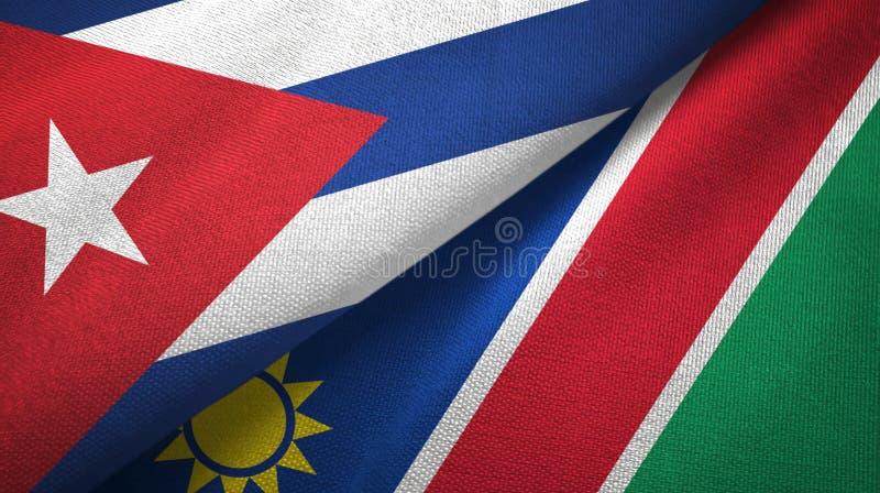Ткань ткани флагов Кубы и Намибии 2, текстура ткани бесплатная иллюстрация