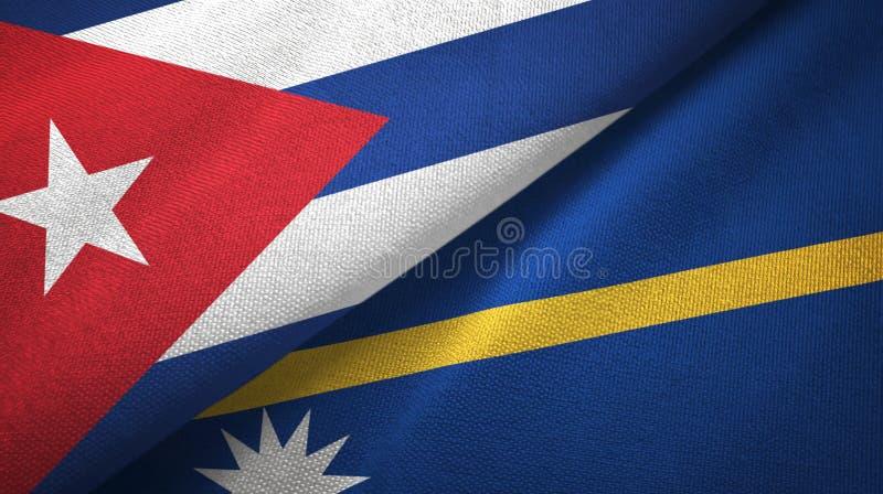 Ткань ткани флагов Кубы и Науру 2, текстура ткани бесплатная иллюстрация