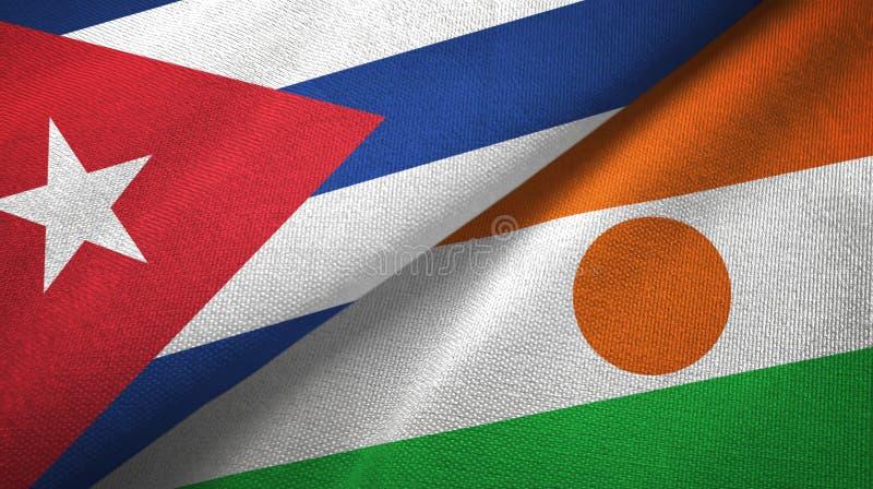 Ткань ткани флагов Кубы и Нигера 2, текстура ткани бесплатная иллюстрация