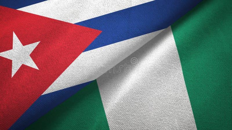 Ткань ткани флагов Кубы и Нигерии 2, текстура ткани бесплатная иллюстрация