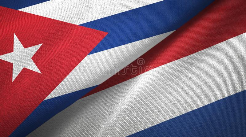 Ткань ткани флагов Кубы и Нидерланд 2, текстура ткани иллюстрация вектора