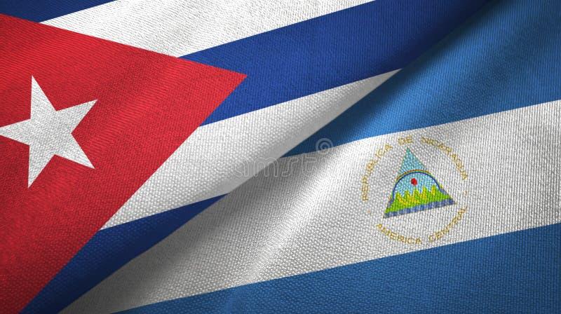 Ткань ткани флагов Кубы и Никарагуа 2, текстура ткани иллюстрация штока