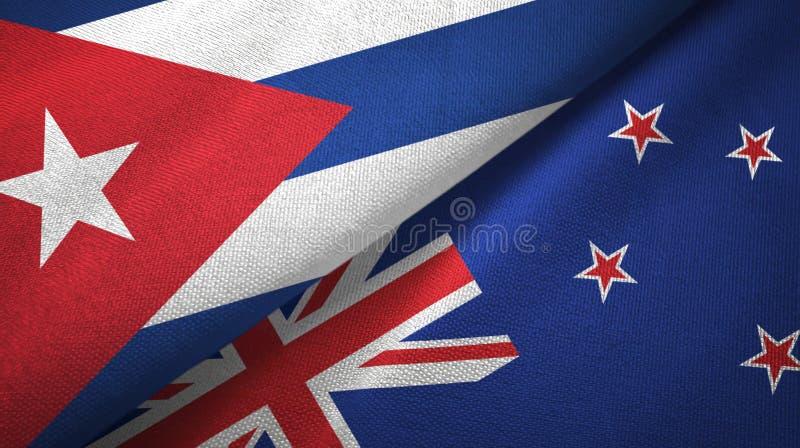 Ткань ткани флагов Кубы и Новой Зеландии 2, текстура ткани иллюстрация штока