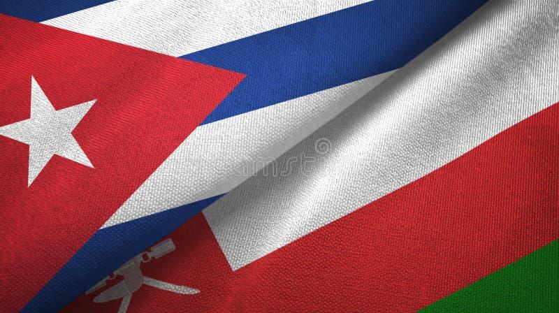 Ткань ткани флагов Кубы и Омана 2, текстура ткани иллюстрация вектора