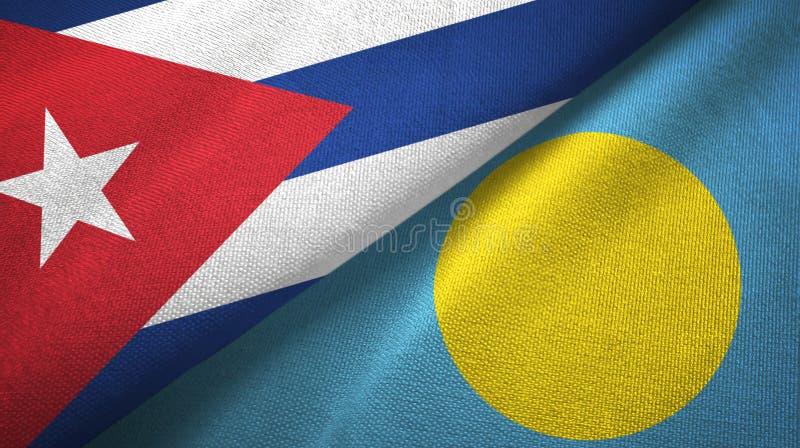 Ткань ткани флагов Кубы и Палау 2, текстура ткани иллюстрация вектора
