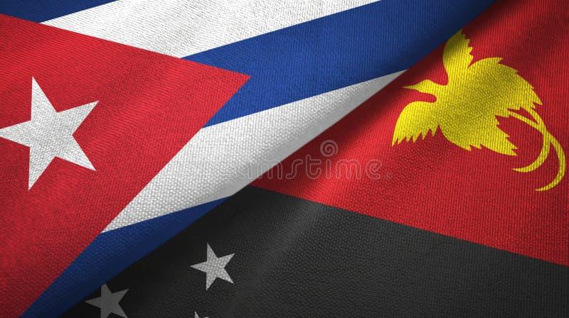 Ткань ткани флагов Кубы и Папуаой-Нов Гвинеи 2, текстура ткани иллюстрация вектора