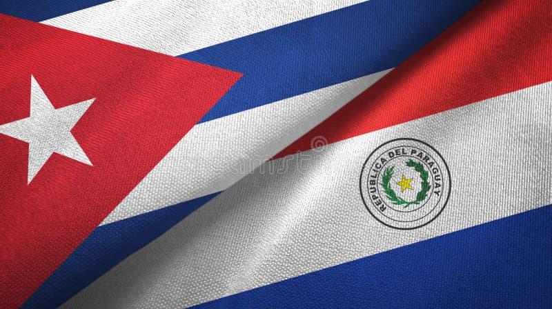 Ткань ткани флагов Кубы и Парагвая 2, текстура ткани иллюстрация штока
