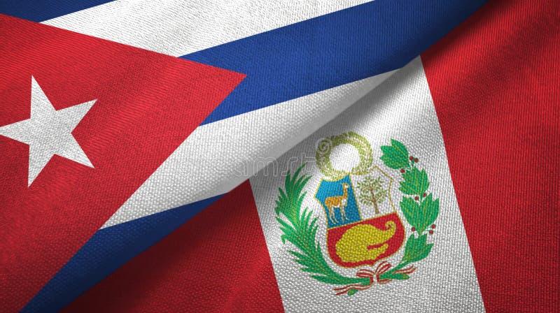 Ткань ткани флагов Кубы и Перу 2, текстура ткани иллюстрация вектора