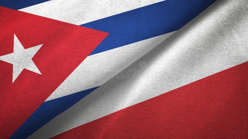 Ткань ткани флагов Кубы и Польши 2, текстура ткани иллюстрация вектора