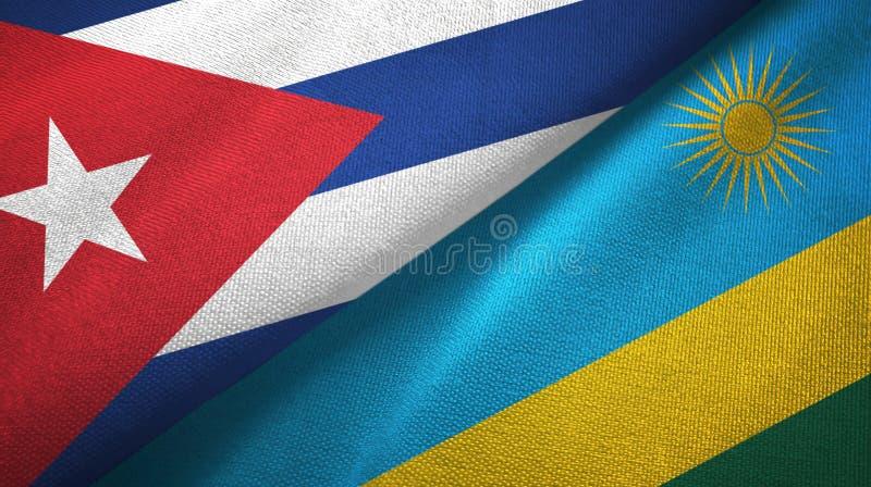 Ткань ткани флагов Кубы и Руанды 2, текстура ткани иллюстрация вектора
