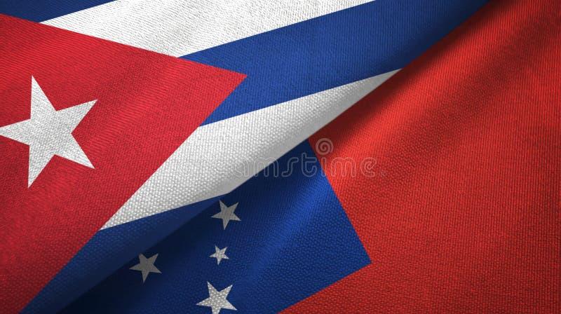 Ткань ткани флагов Кубы и Самоа 2, текстура ткани бесплатная иллюстрация