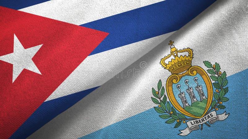 Ткань ткани флагов Кубы и Сан-Марино 2, текстура ткани иллюстрация штока