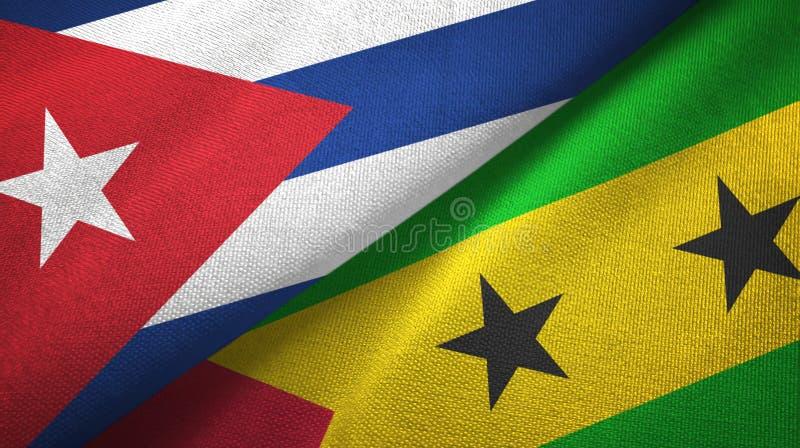 Ткань ткани флагов Кубы и Сан Томе и Принчипе 2, текстура ткани бесплатная иллюстрация