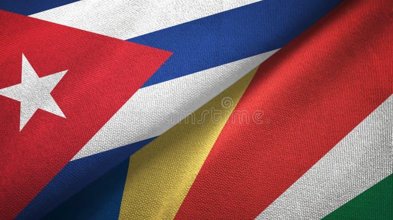 Ткань ткани флагов Кубы и Сейшельских островов 2, текстура ткани бесплатная иллюстрация