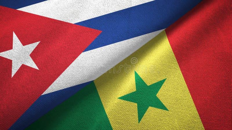 Ткань ткани флагов Кубы и Сенегала 2, текстура ткани иллюстрация вектора