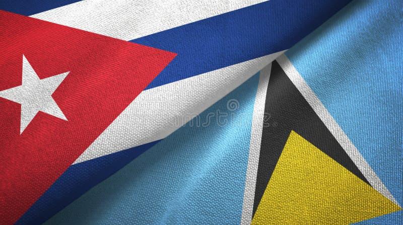 Ткань ткани флагов Кубы и Сент-Люсия 2, текстура ткани иллюстрация вектора