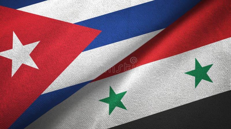 Ткань ткани флагов Кубы и Сирии 2, текстура ткани бесплатная иллюстрация