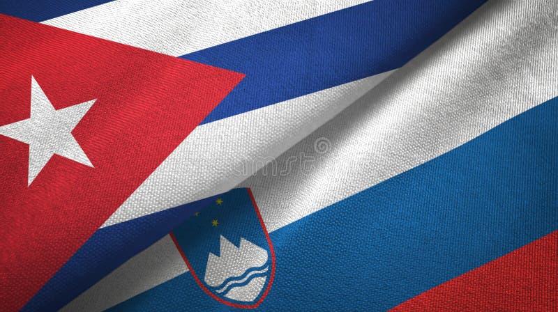 Ткань ткани флагов Кубы и Словении 2, текстура ткани бесплатная иллюстрация