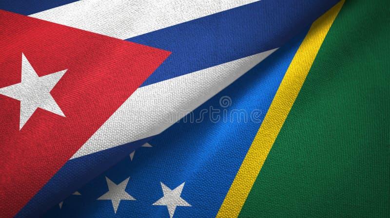 Ткань ткани флагов Кубы и Соломоновых Островов 2, текстура ткани иллюстрация штока