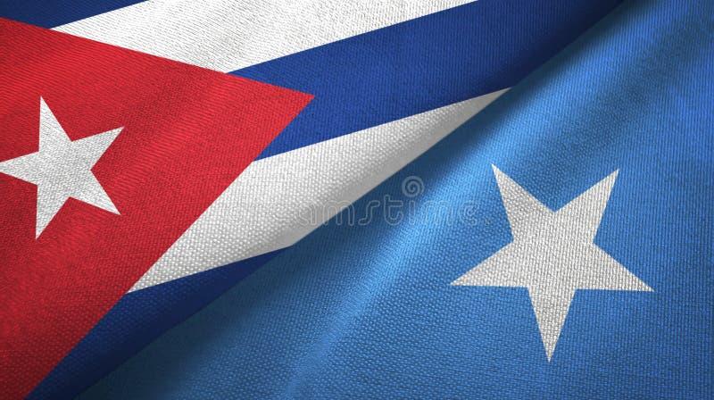 Ткань ткани флагов Кубы и Сомали 2, текстура ткани иллюстрация вектора