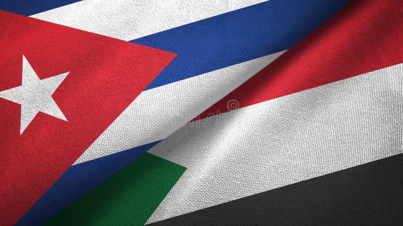 Ткань ткани флагов Кубы и Судана 2, текстура ткани иллюстрация вектора