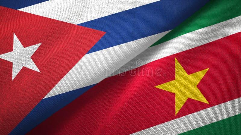 Ткань ткани флагов Кубы и Суринама 2, текстура ткани иллюстрация штока