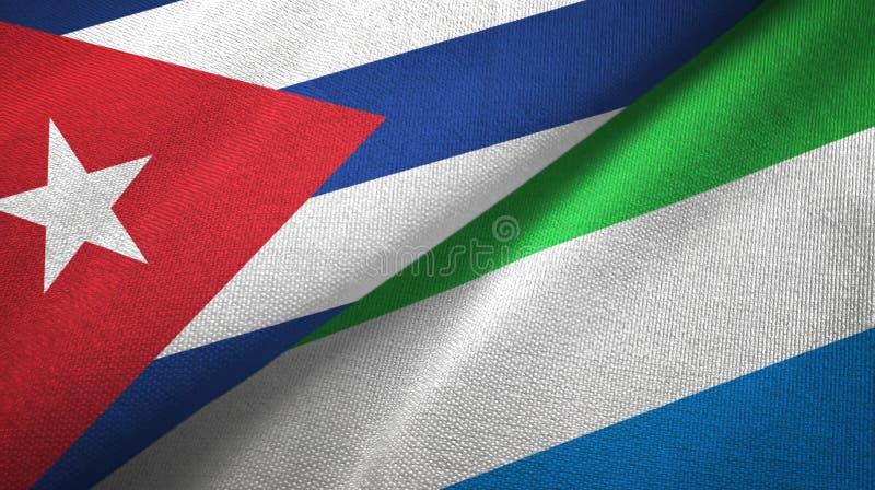 Ткань ткани флагов Кубы и Сьерра-Леоне 2, текстура ткани иллюстрация вектора