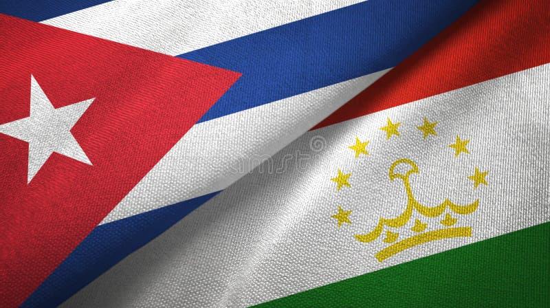 Ткань ткани флагов Кубы и Таджикистана 2, текстура ткани иллюстрация вектора
