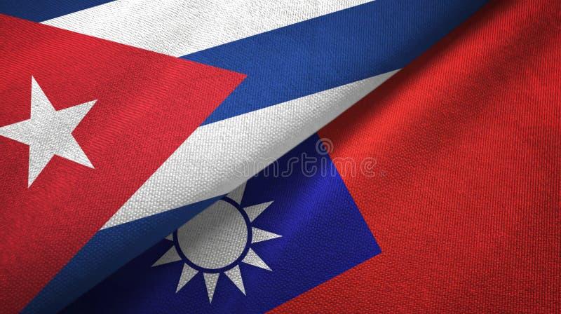 Ткань ткани флагов Кубы и Тайваня 2, текстура ткани бесплатная иллюстрация