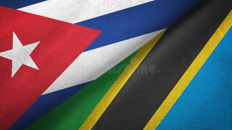 Ткань ткани флагов Кубы и Танзании 2, текстура ткани иллюстрация штока